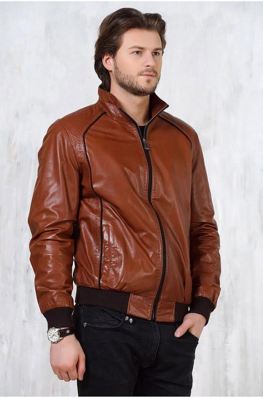 Мужская кожаная куртка коричневая — Ателье по коже Чебоксары