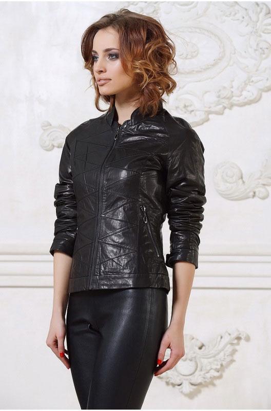 Женская кожаная куртка с декоративной строчкой — Ателье по коже Чебоксары