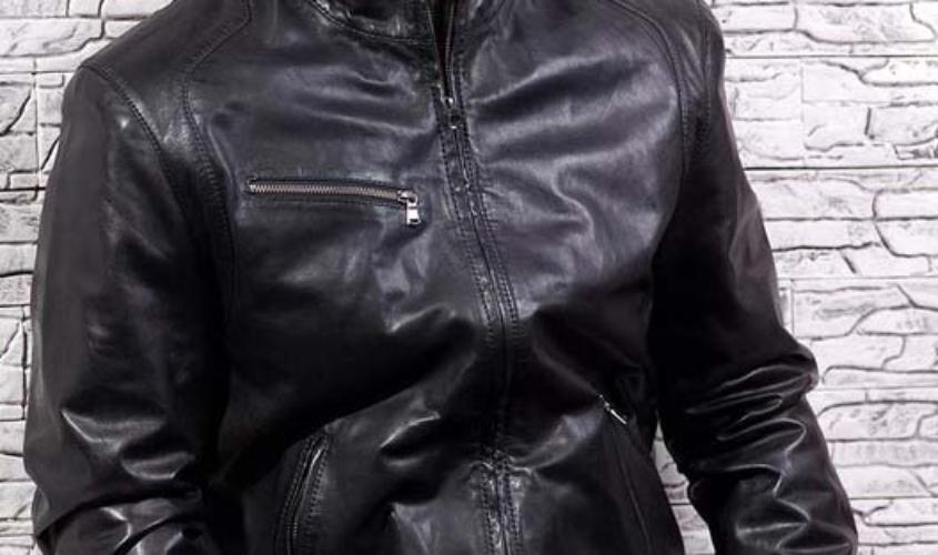 Мужская кожаная куртка с воротником стойка