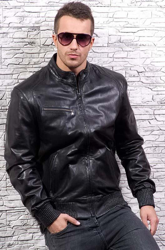 Мужская кожаная куртка с воротником стойка — Ателье по коже Чебоксары