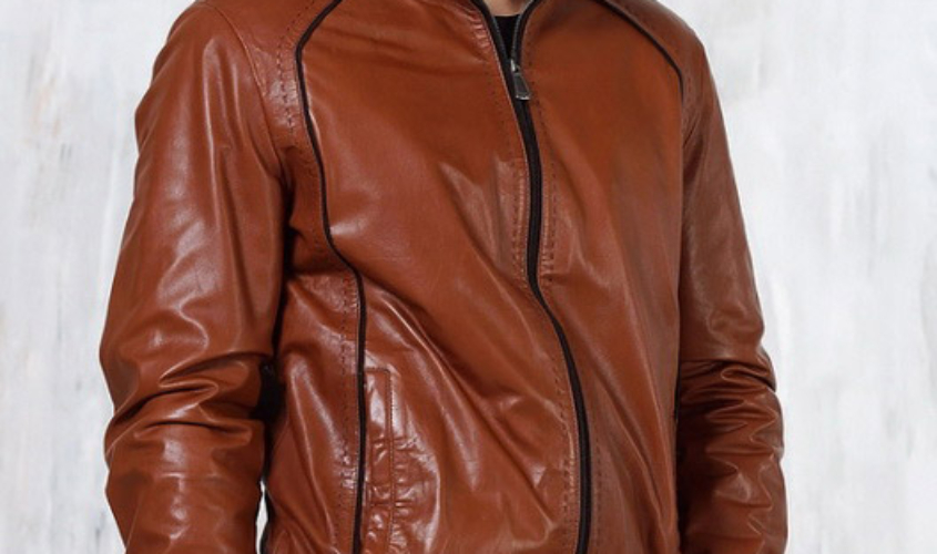 Мужская кожаная куртка коричневая