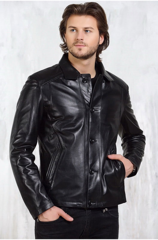 Мужская кожаная куртка на пуговицах — Ателье по коже Чебоксары