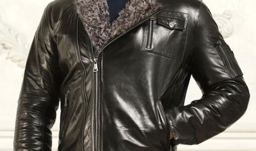 Мужская зимняя кожаная куртка косуха
