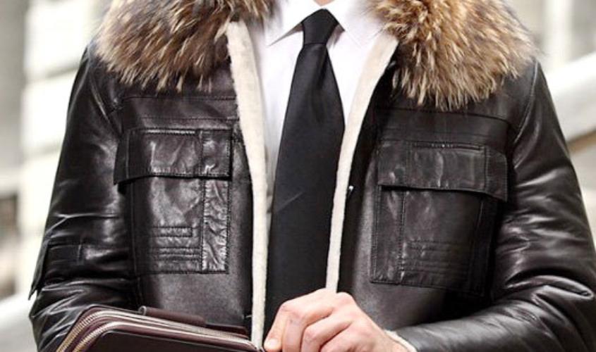 Мужская кожаная куртка натуральный мех