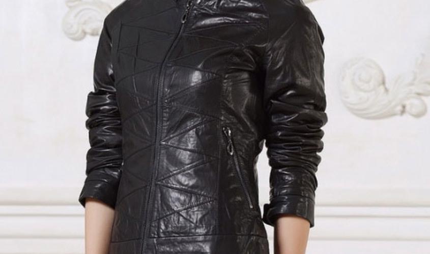 Женская кожаная куртка с декоративной строчкой