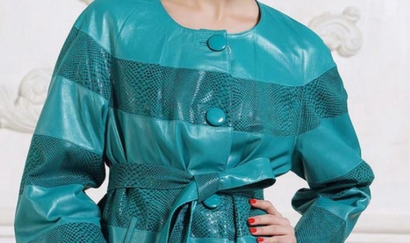 Куртка кожаная женская бирюза