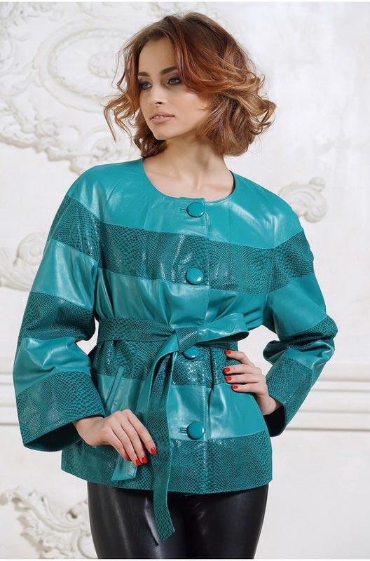 Куртка кожаная женская бирюзового цвета — Ателье по коже Чебоксары