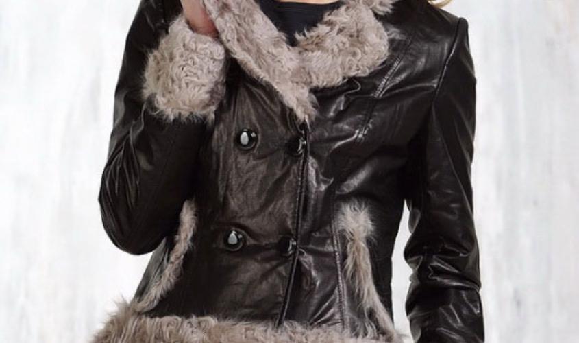 Зимняя женская кожаная куртка без капюшона