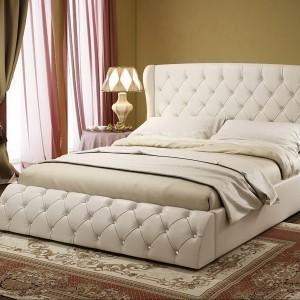 Кровать с каретной стяжкой в Чебоксарах — Ателье по коже