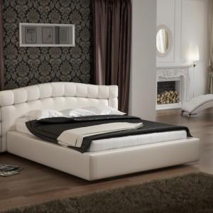 Кровать с мягким изголовьем декор стразами — Ателье по коже